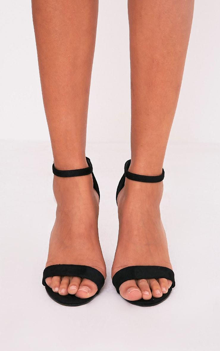 May Black Faux Suede Block Heeled Sandals 3