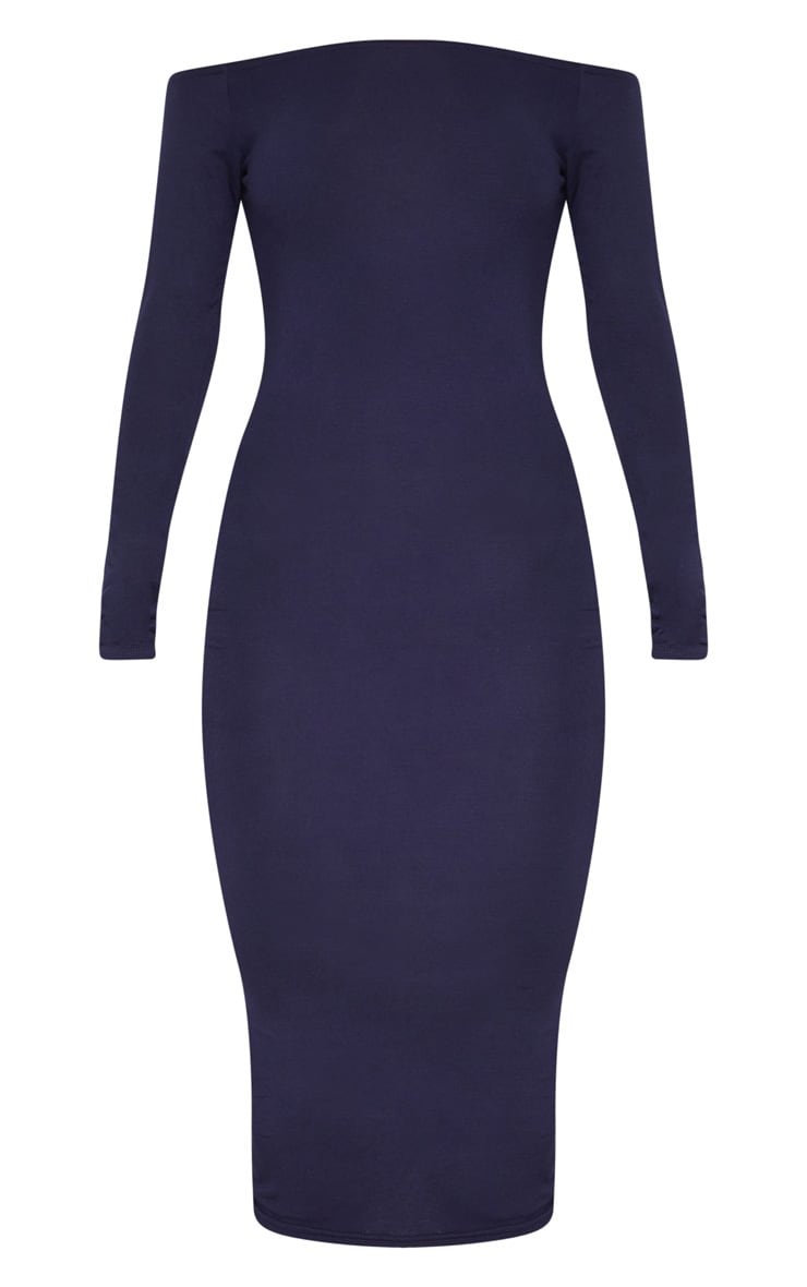 Basic Navy Jersey Bardot Midi Dress 3