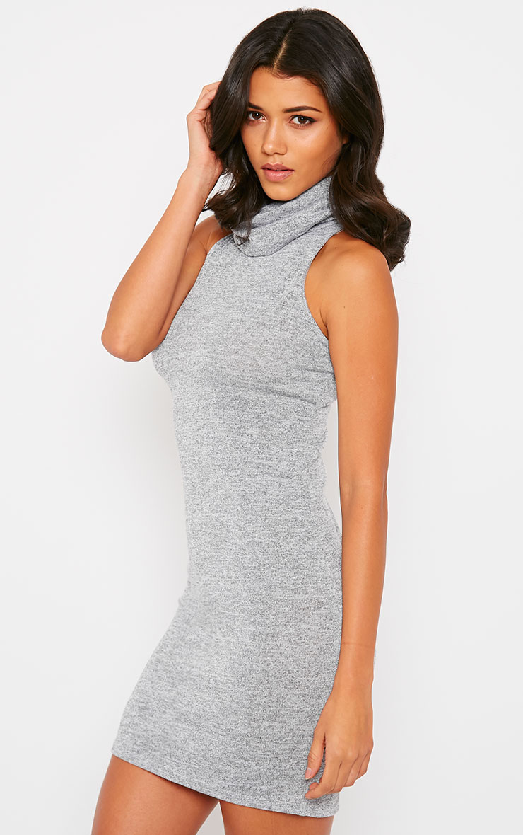Hazel Grey Marl Roll Neck Knitted Dress 4