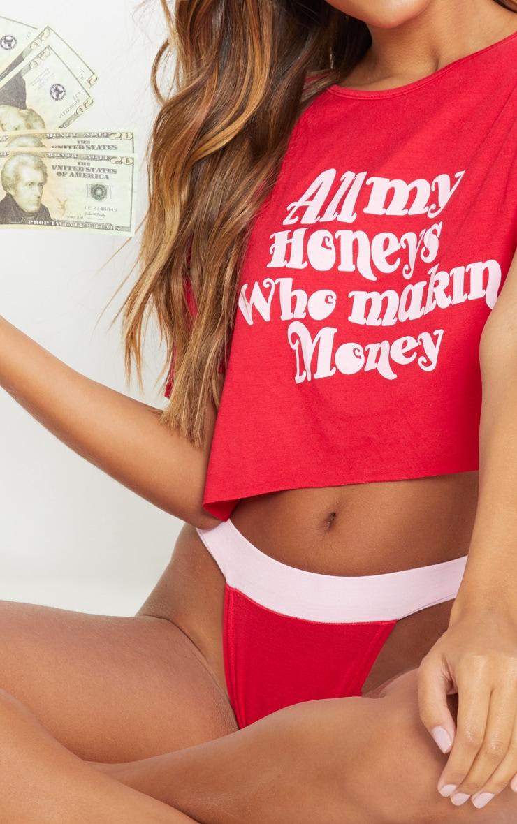 Red All My Honeys Crop Tee And Knicker PJ Set 5