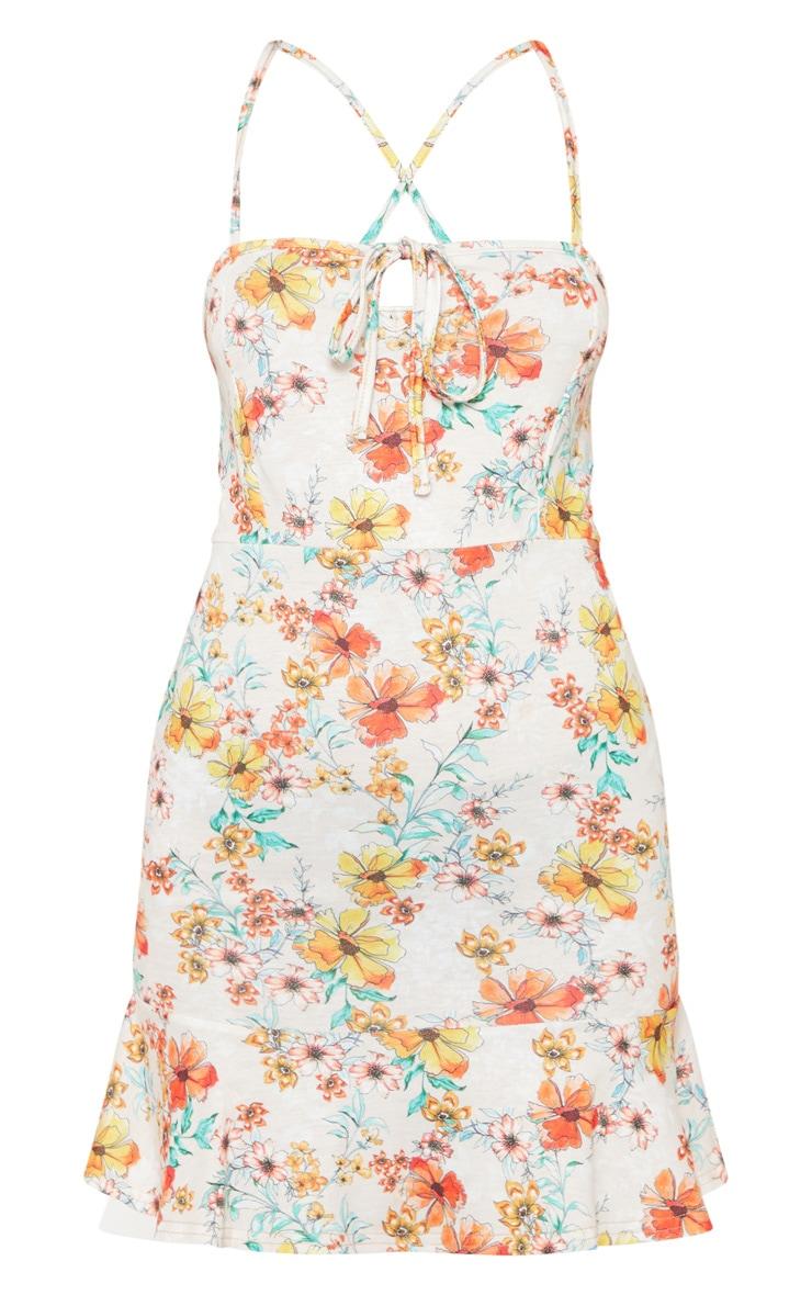 Beige Floral Print Cross Back Tea Dress 3