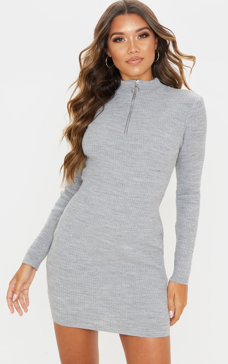 Grey High Neck Zip Front Rib Knit Dress 1