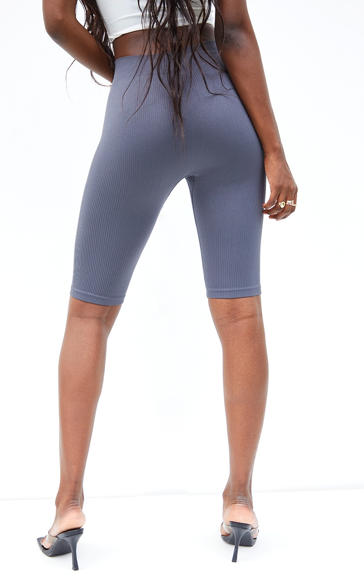 Tall  Grey Structured Contour Ribbed Cycle Shorts 3