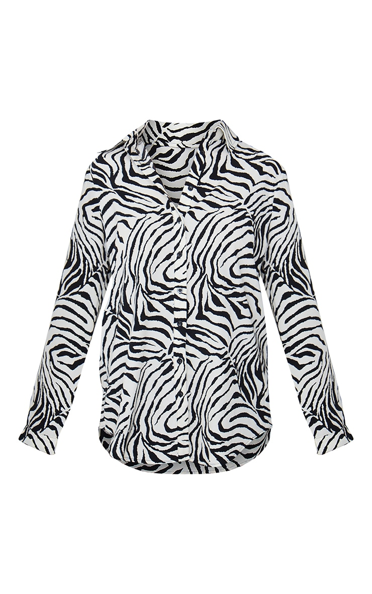 Black Zebra Print Oversized Shirt 5
