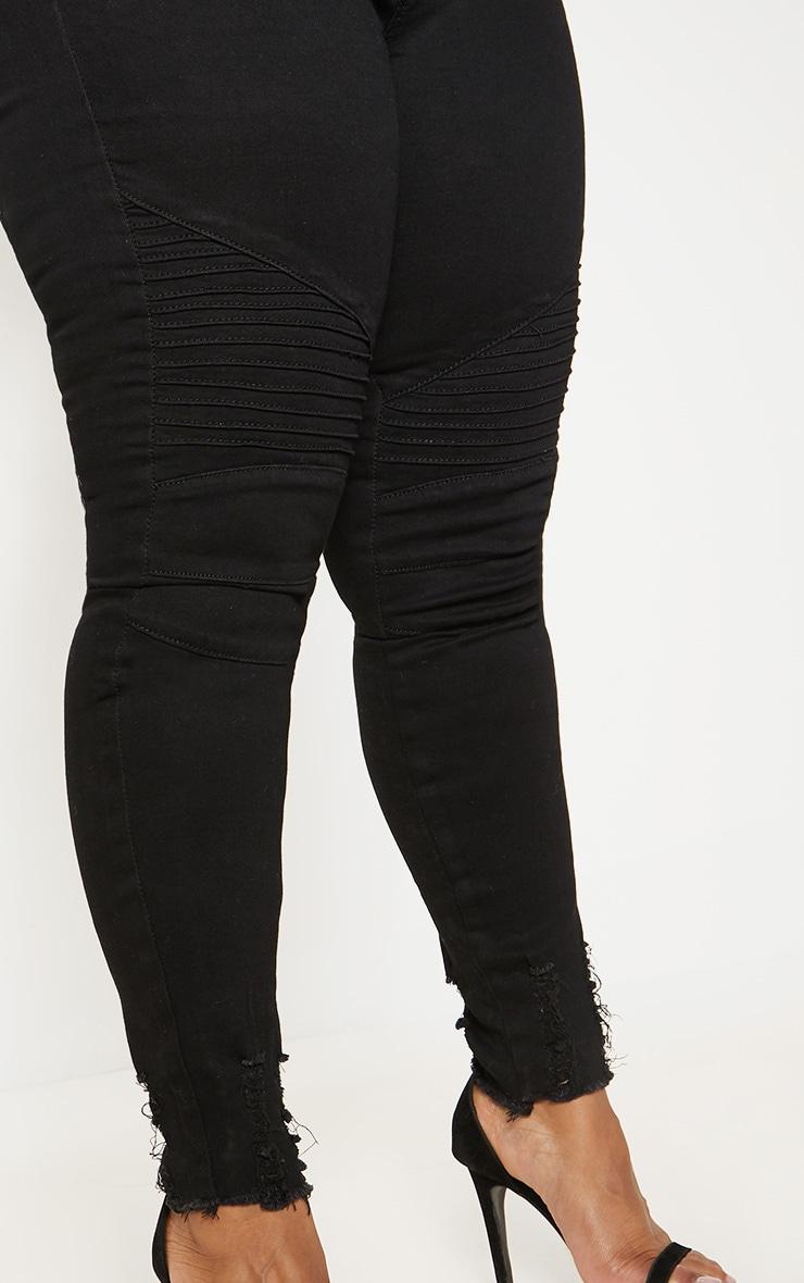 Plus Black Biker Detail Skinny Jean  5