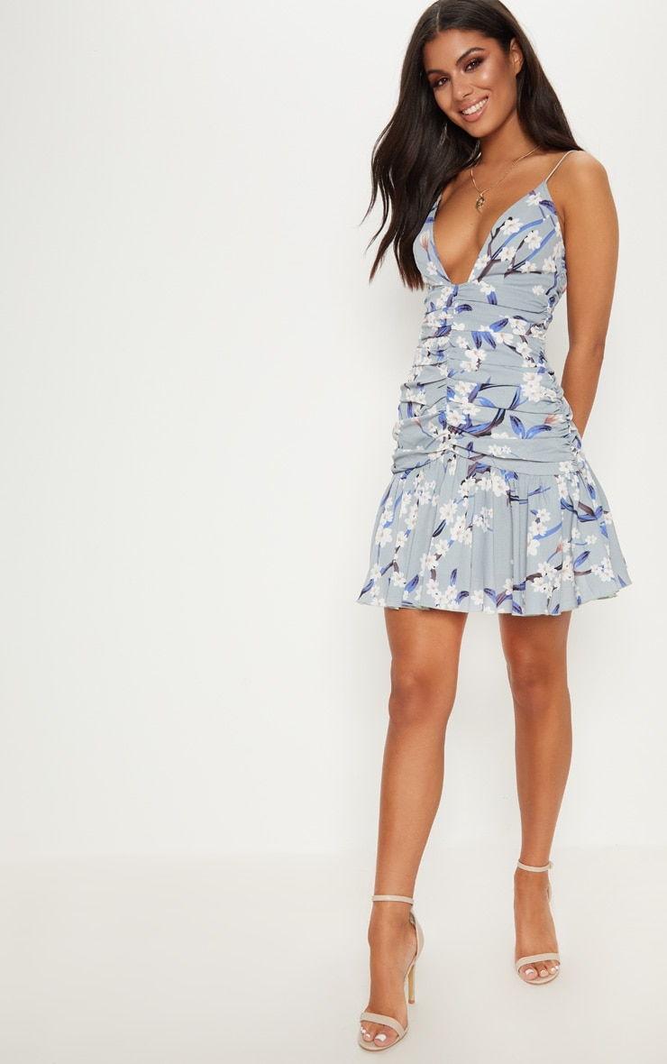 Dusty Blue Floral Print Ruched Detail Frill Hem Bodycon Dress 4