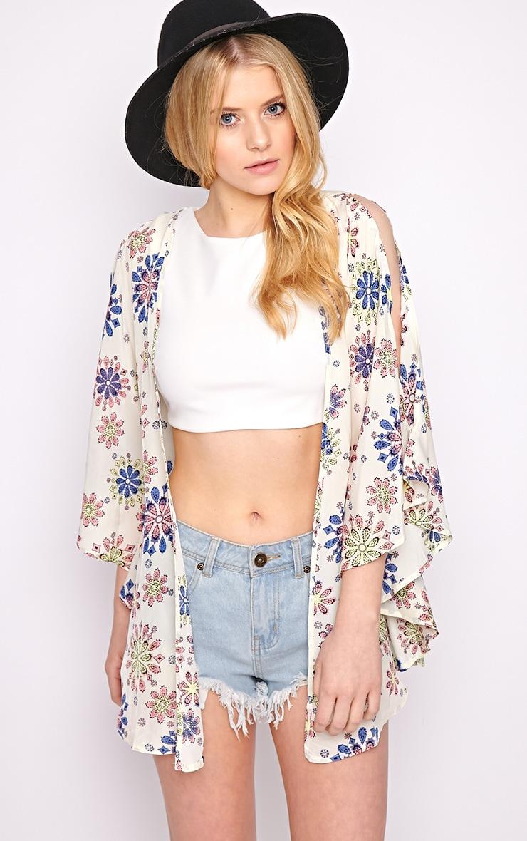 Zoey Cream Print Kimono  5