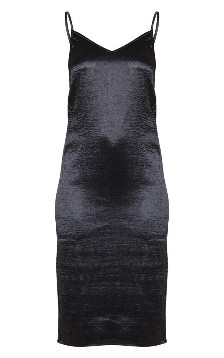 Black Hammered Satin Slip Midaxi Dress 5