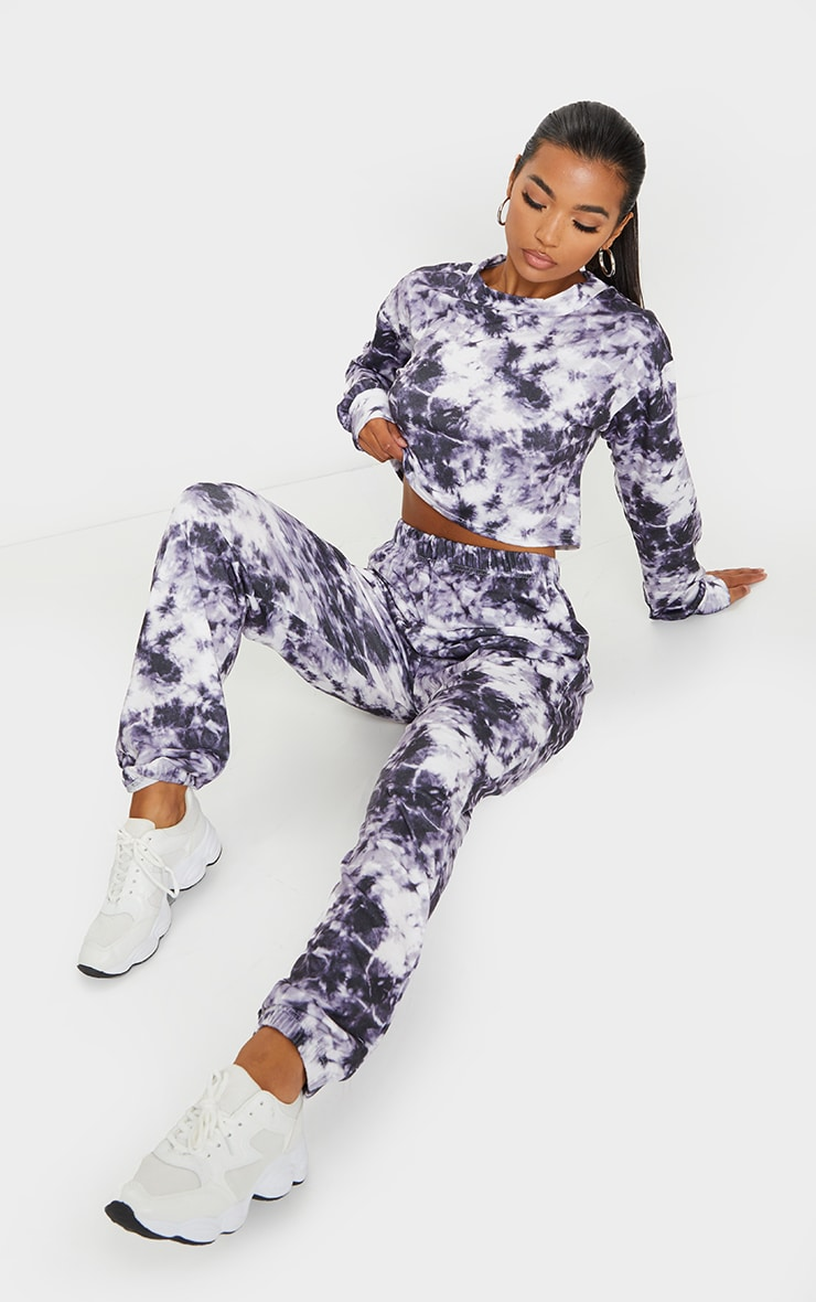 Purple Tie Dye Cropped Sweat And Jogger Set 3