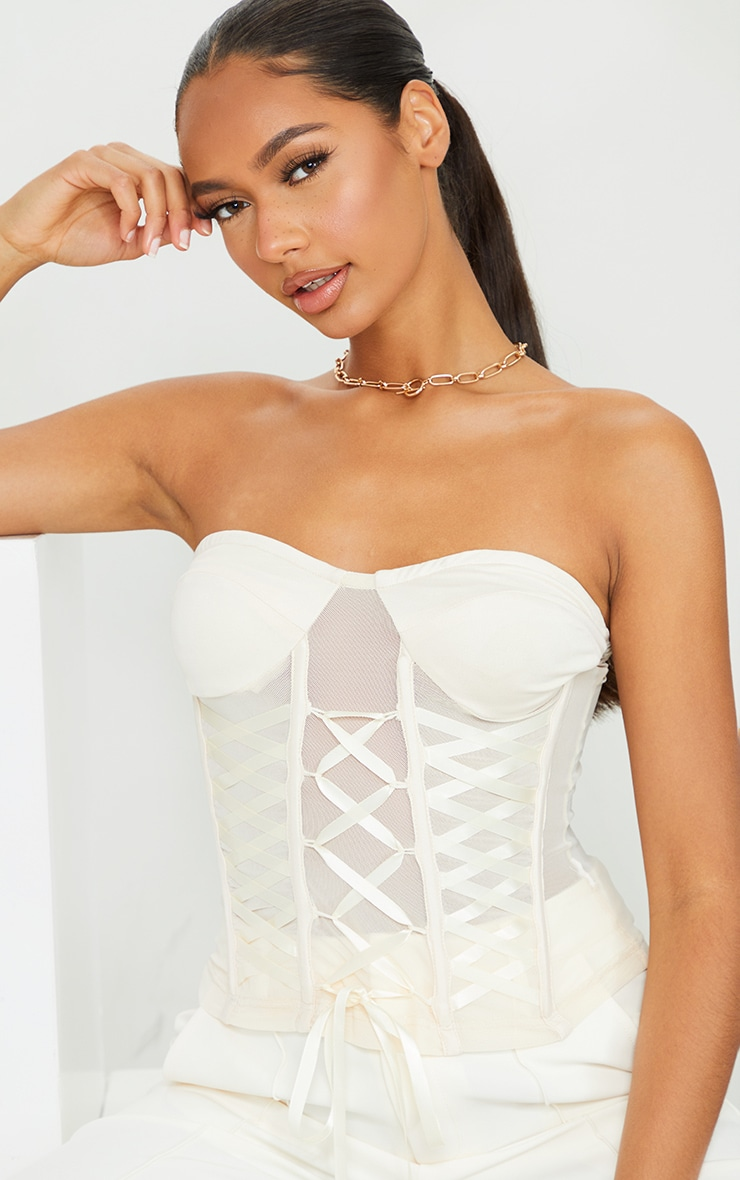 Cream Mesh Lace Tie Front Detail Structured Corset 4