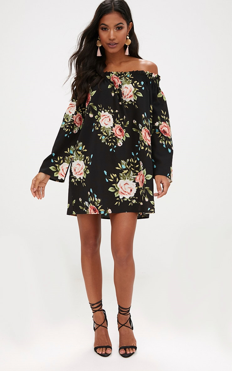Floral Long Sleeve Bardot Shift Dress 4