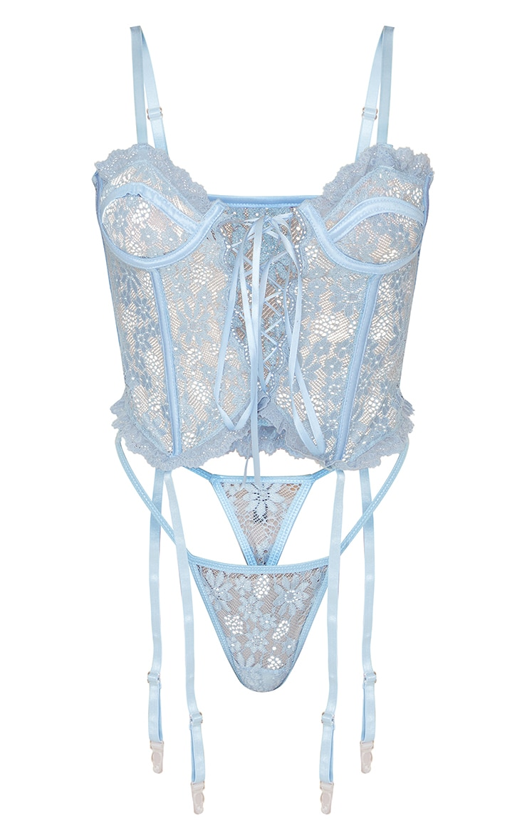 Baby Blue Floral Lace Lace Up Corset With Suspender And Thong 5