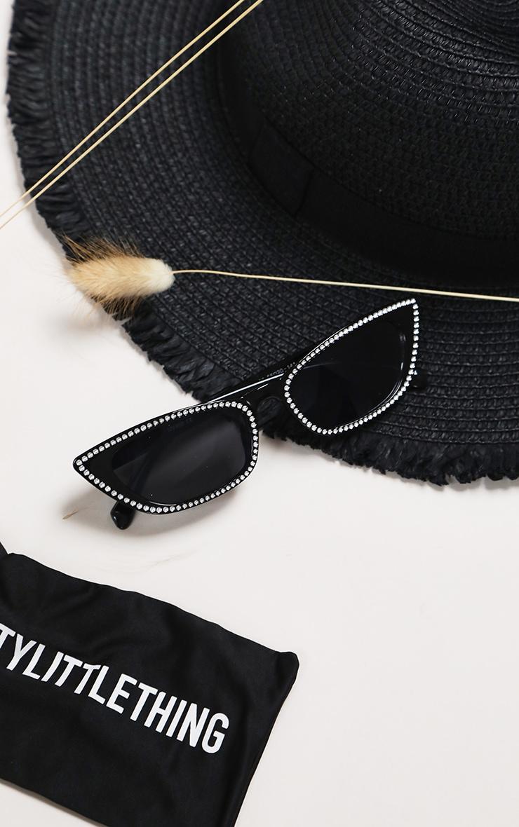 Black Diamante Trim Cat Eye Sunglasses 5
