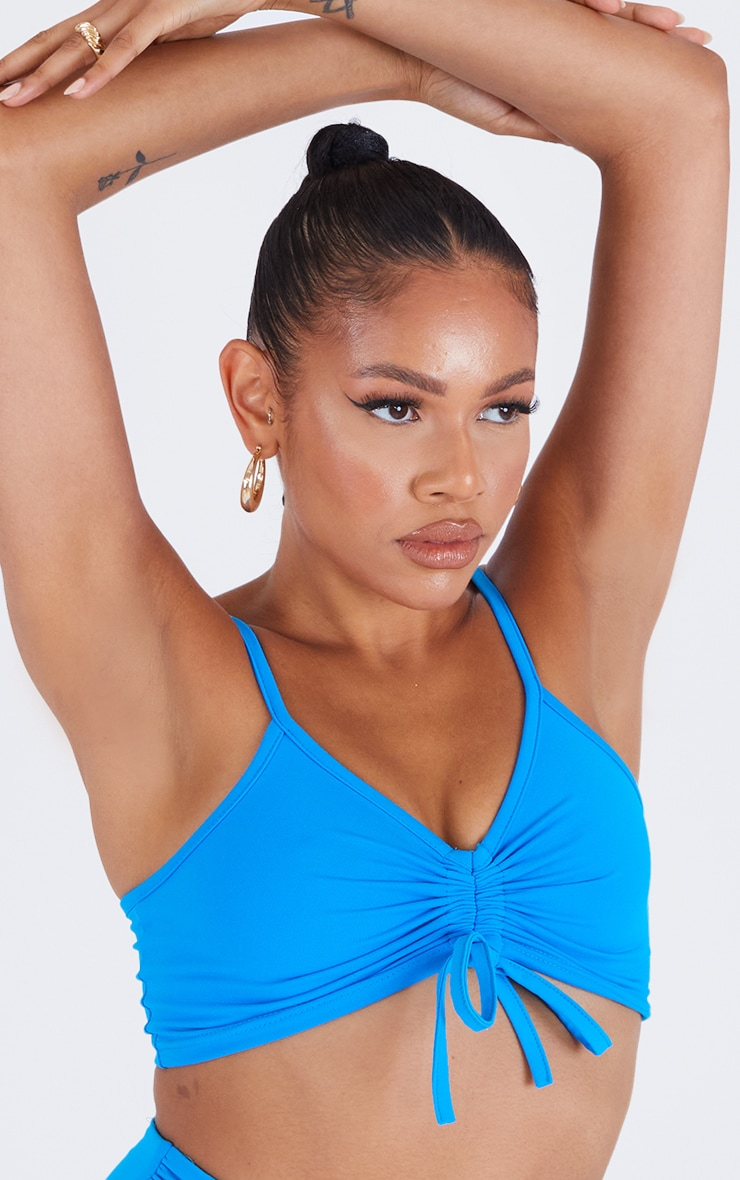 Blue Front Ruched Sports Bra 4