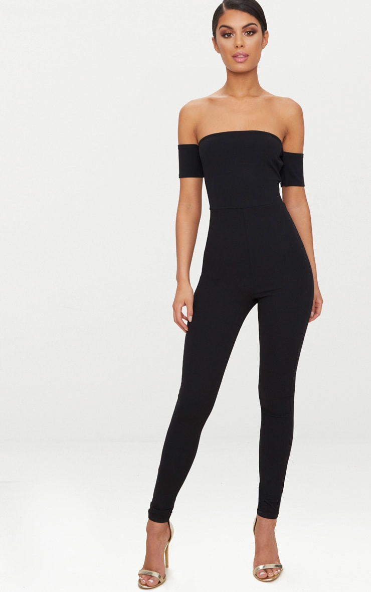 Black Bardot Short Sleeve Jumpsuit 3