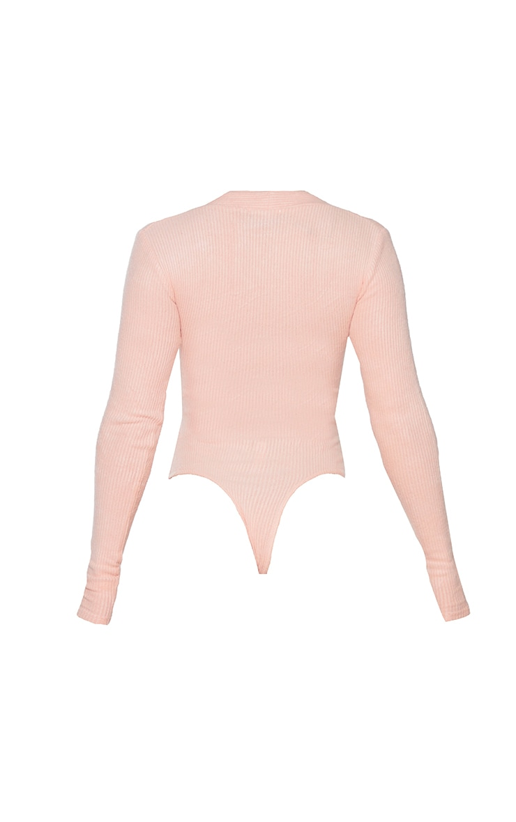 Shape Pink Brushed Rib Long Sleeve Square Neck Bodysuit 6
