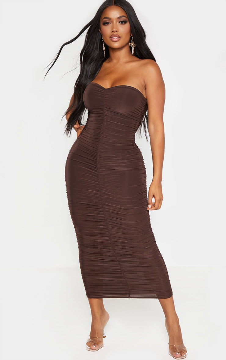 Shape Chocolate Brown Bandeau Ruched Midaxi Dress 1