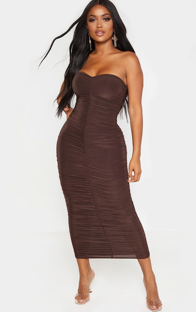 Shape Chocolate Brown Bandeau Ruched Midaxi Dress