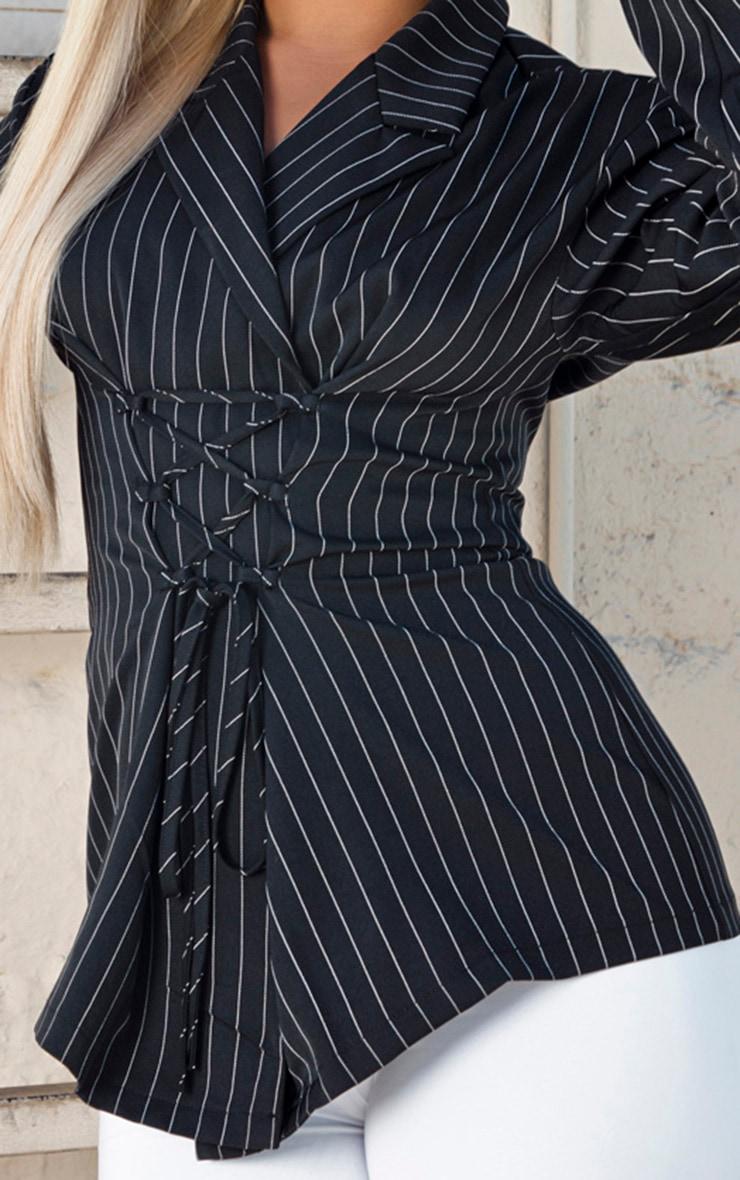 Black Pinstripe Lace Up Corset Shirt 5