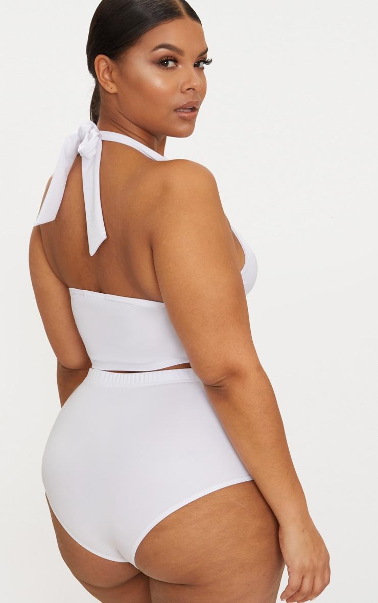 Plus White Halterneck High Waist Bikini Set 2