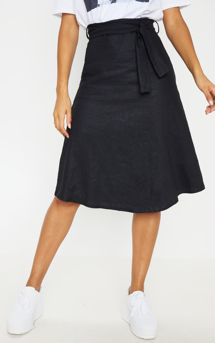 Black Linen Mix Tie Waist Midi Skirt 2