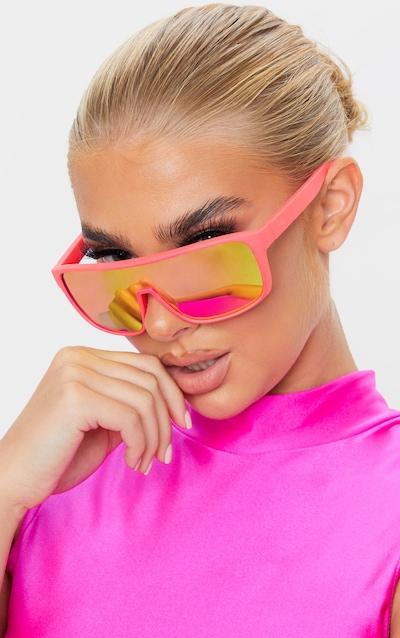 Neon Pink Matte Frame Revo Lens Sunglasses