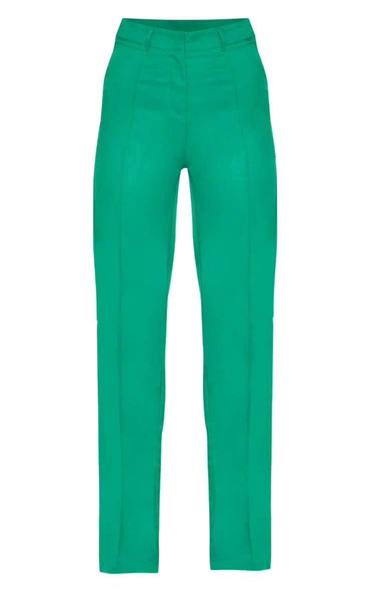 Green High Waisted Straight Leg Pants 3