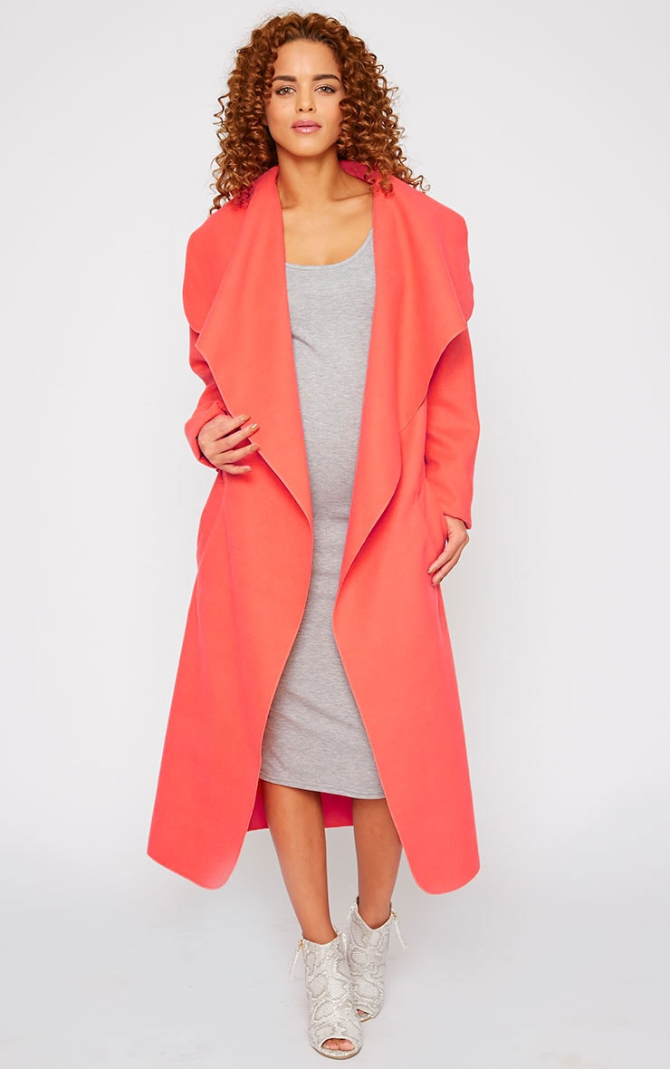 Veronica Coral Oversized Waterfall Belt Coat 1