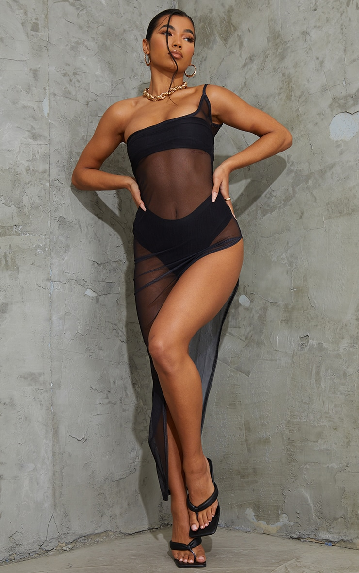 Black Mesh One Shoulder Thigh Split Midaxi Dress 1