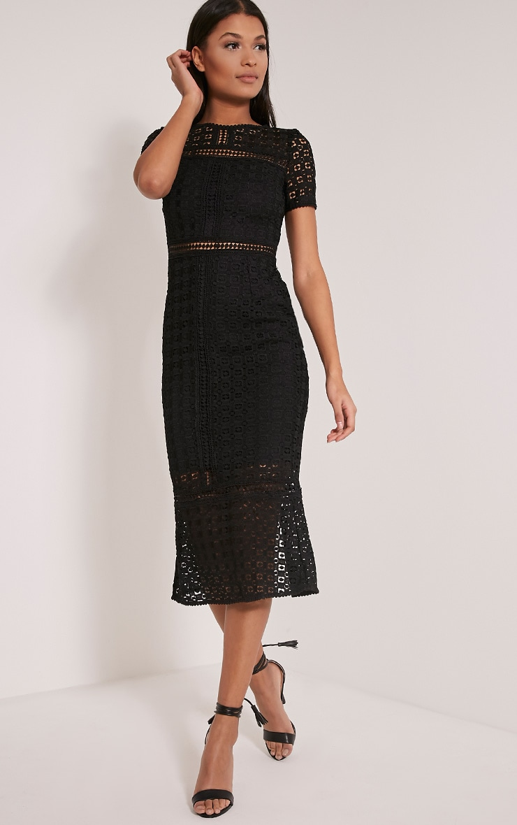 Midira Black Crochet Lace Midi Dress 3