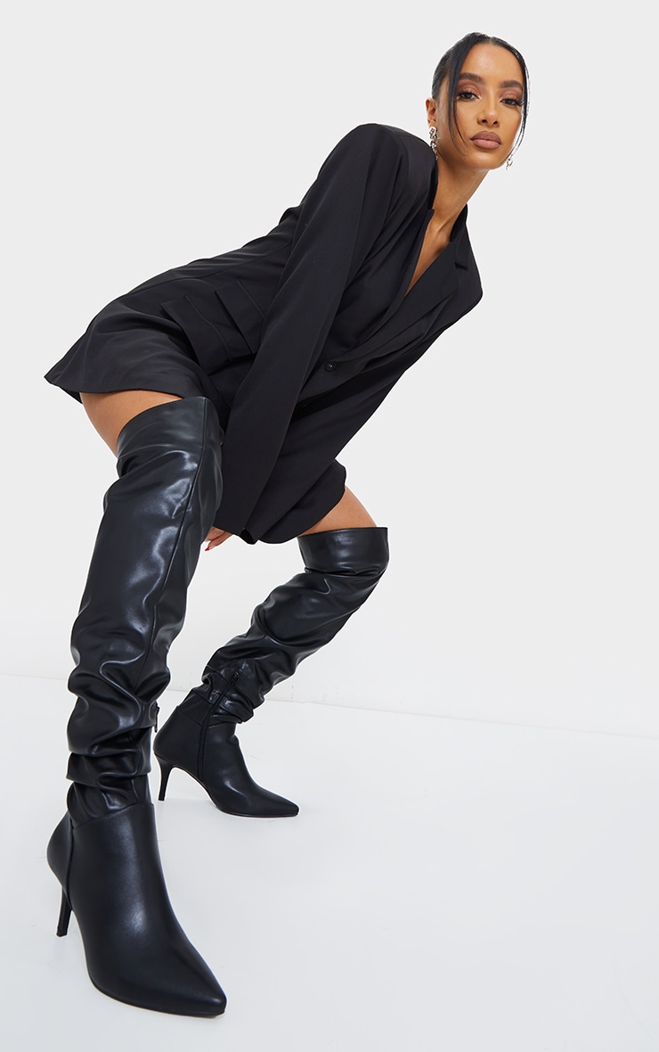 Black Matte PU Point Toe Low Heeled Over The Knee Boots 1
