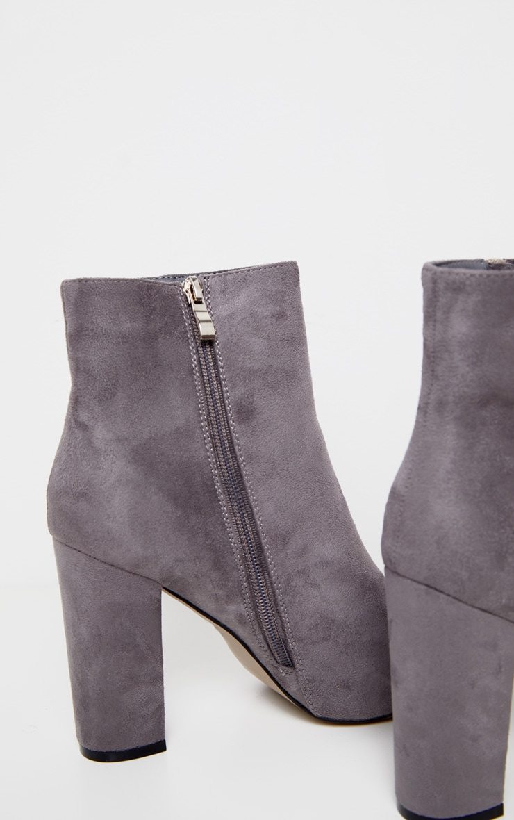 Grey Faux Suede Ankle Boots 4
