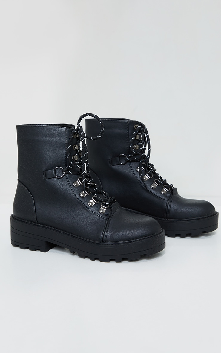 Black Soft Touch PU Chunky Hiker Laces Boots 3