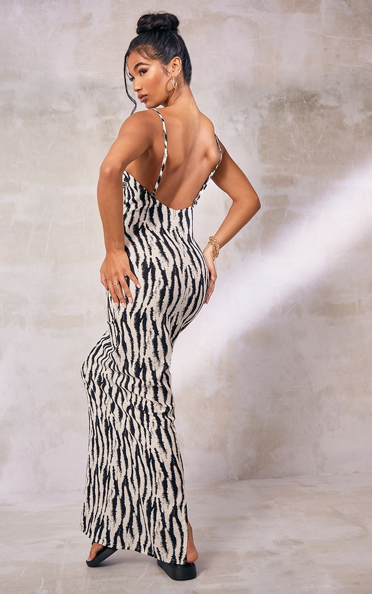 White Zebra Print Satin Cowl Neck Maxi Dress 3