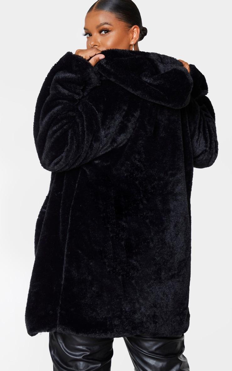 Plus Black Hooded Faux Fur Midi Coat 2