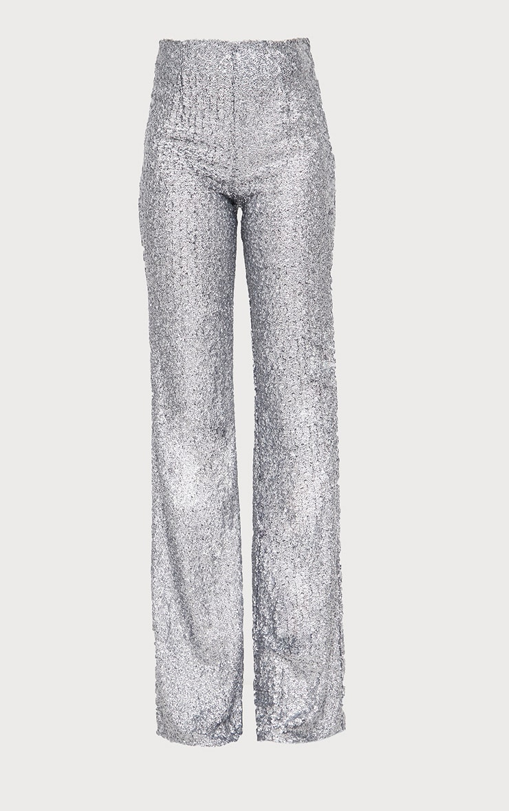 Silver Sequin Wide Leg Pants 3