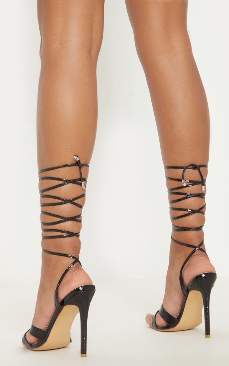 Black Point Ring Detail Lace Up Sandal 2