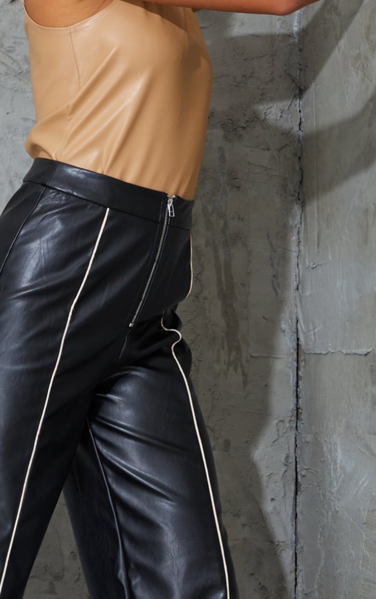 Petite Black Faux Leather Piping Detail Straight Leg Trousers 4