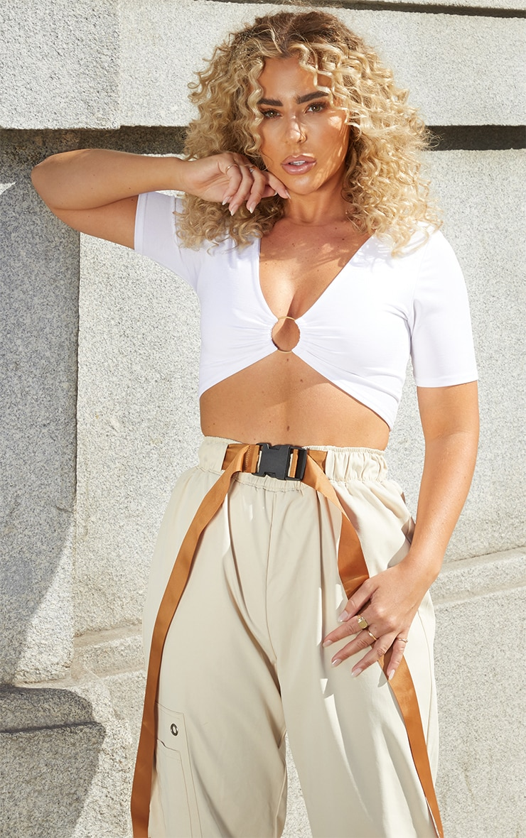 White Slinky Ring Detail Crop Top 1