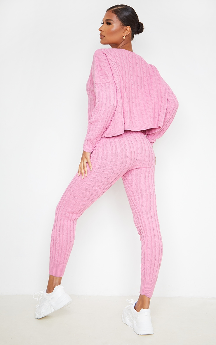 Dusty Pink Cable Knit Sweater & Legging Set 2