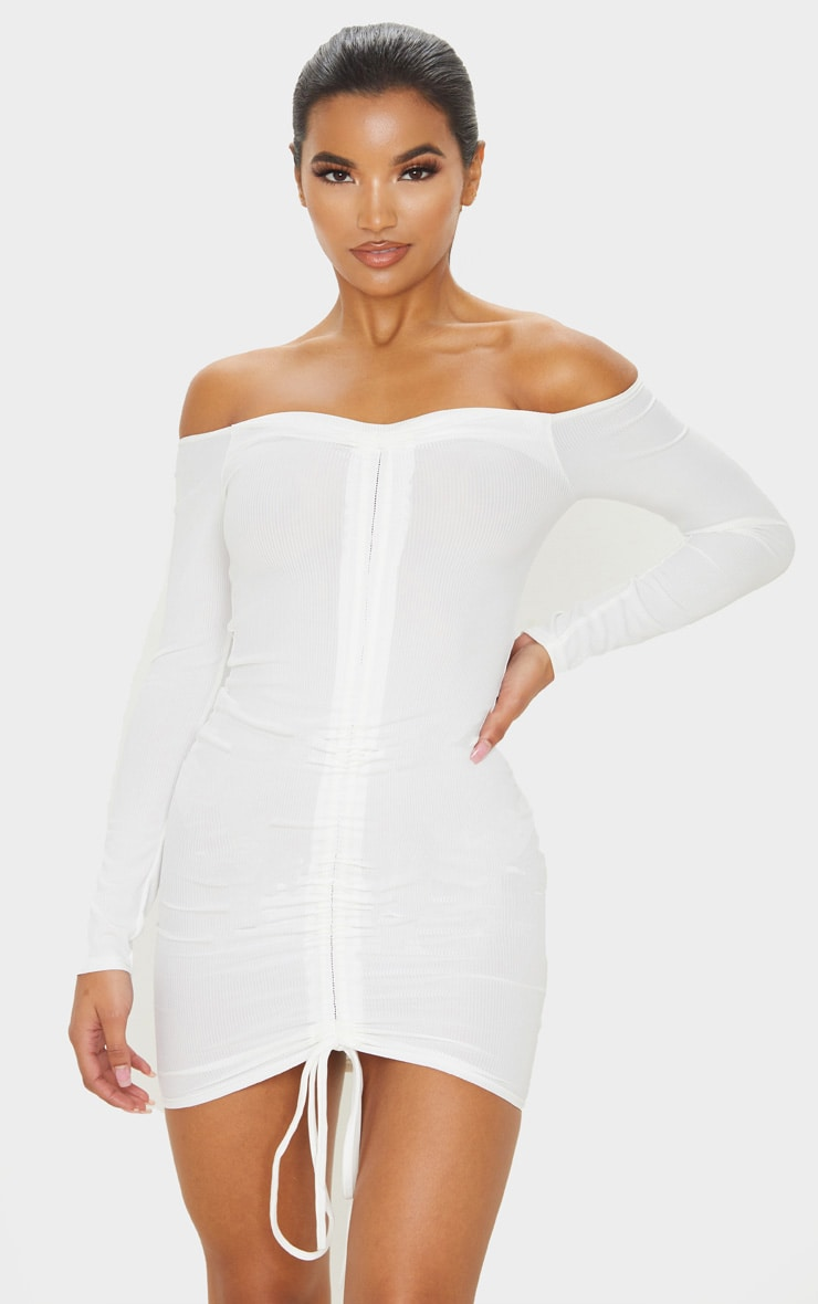White Ribbed Long Sleeve Bardot Ruched Bodycon Dress 1