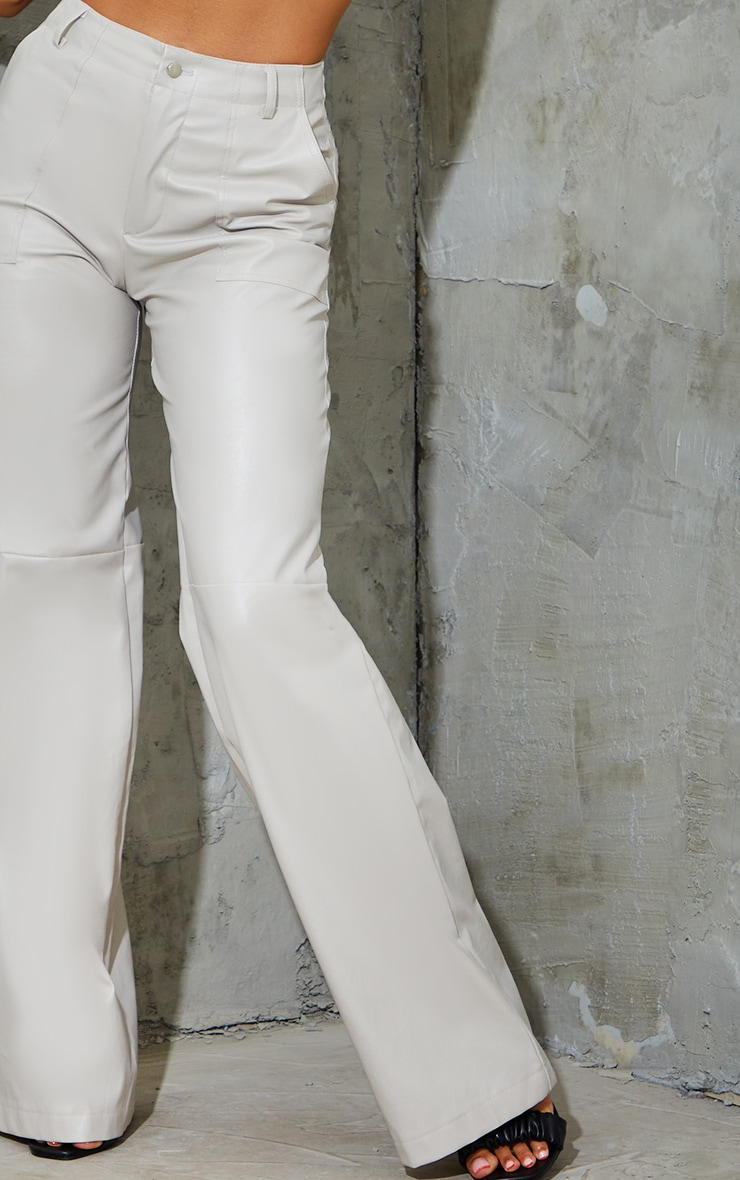 Stone Faux Leather Stitch Detail Wide Leg Trousers 4