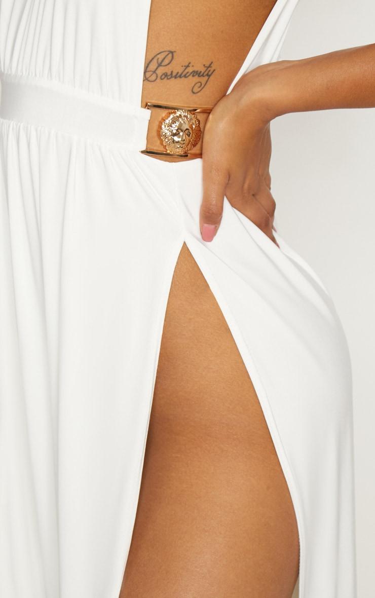 White Lion Buckle Side Boob Extreme Split Leg Maxi Dress 5
