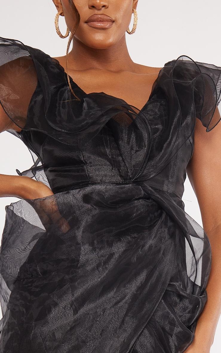 Black Organza Draped Frill Detail Midi Dress 4