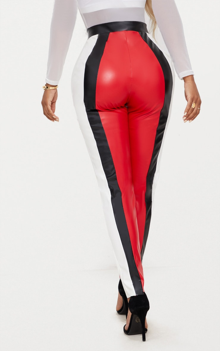 Shape Red PU Panel Trousers 4