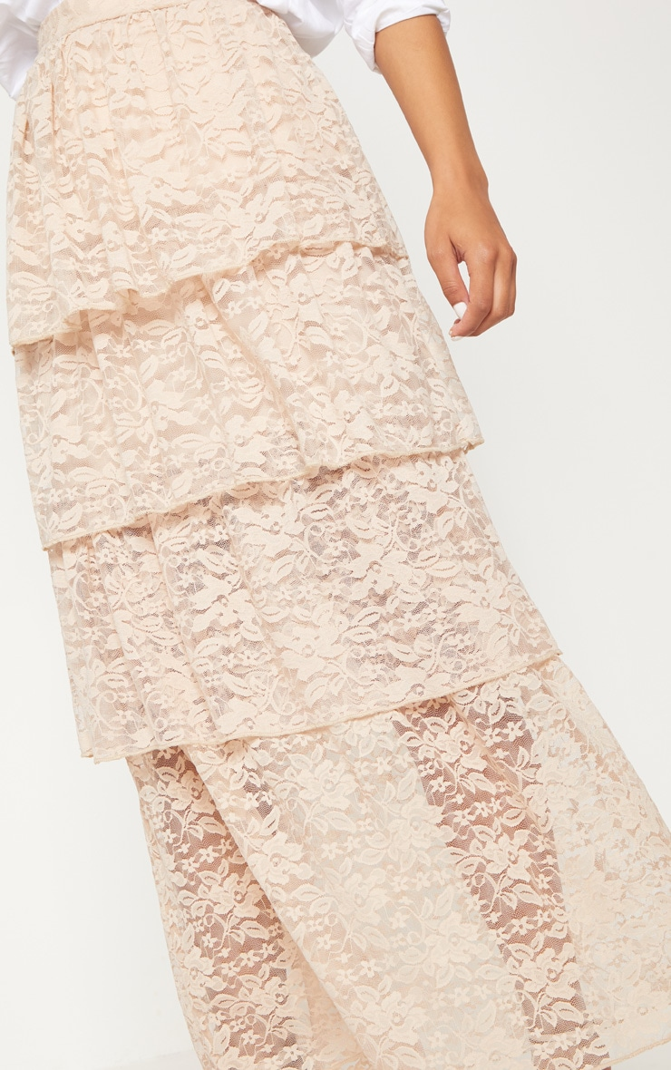 Stone Lace Tiered Maxi Skirt 5