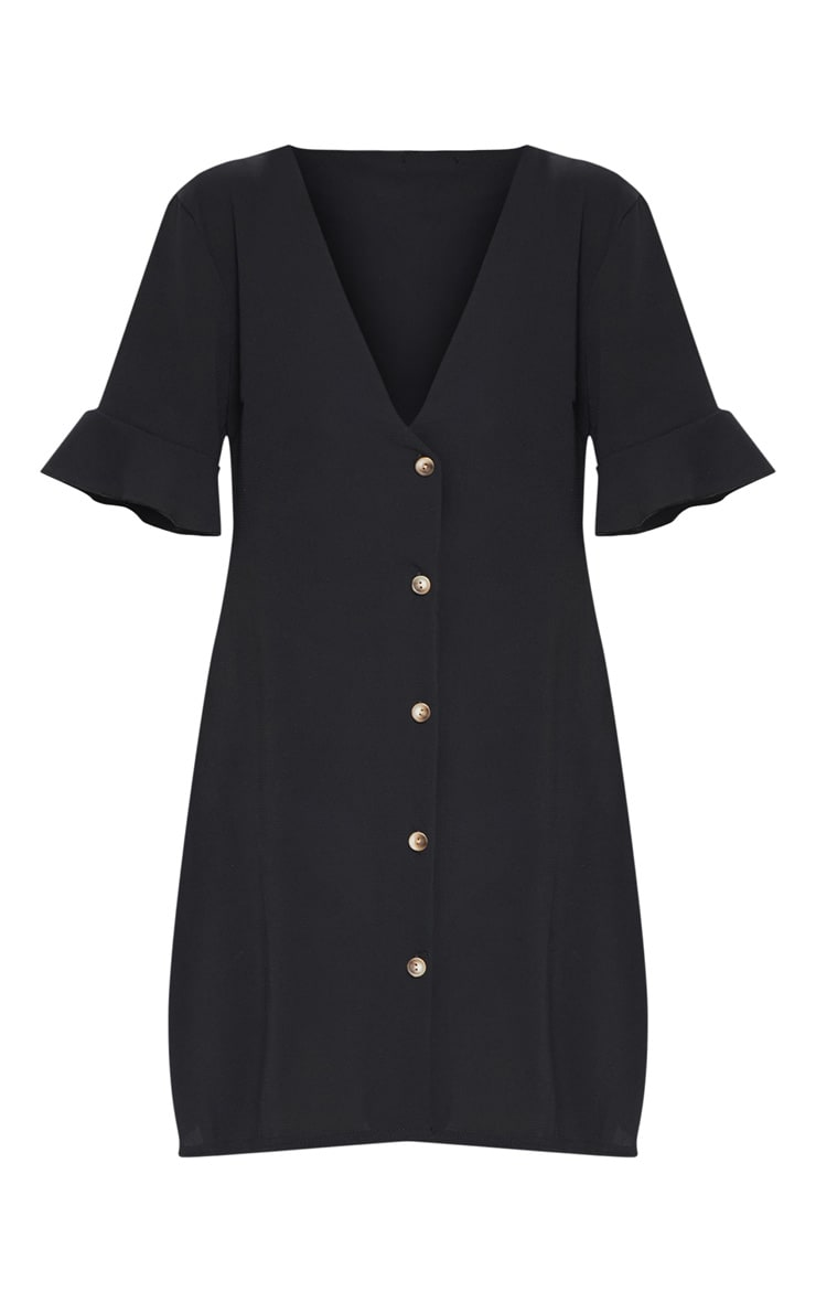 Black Oversized Button Front Shirt Dress 3
