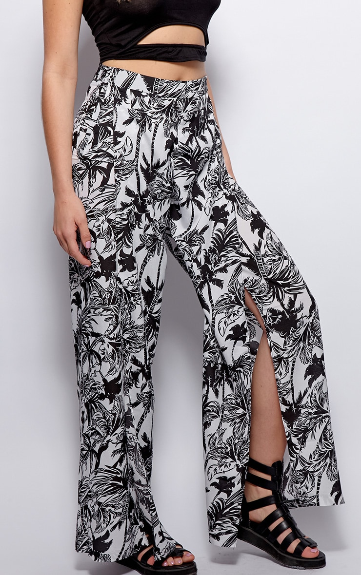 Natasha Monochrome Side Split Trousers 4