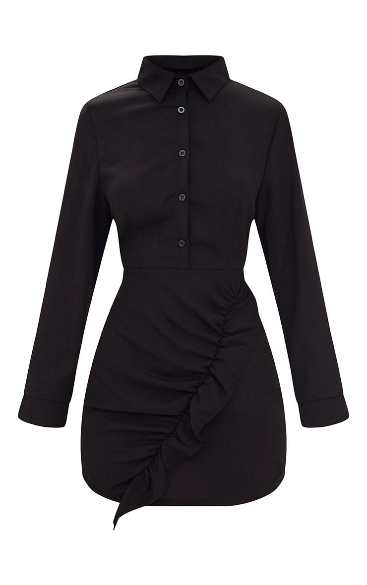 Black Frill Detail Long Sleeve Shirt Bodycon Dress 3