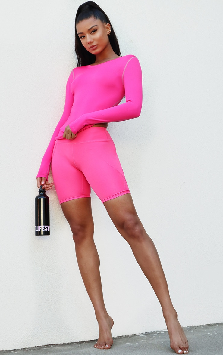 Pink Basic Long Sleeve Gym Top 3